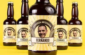 Pack cerveza personalizada con su cara