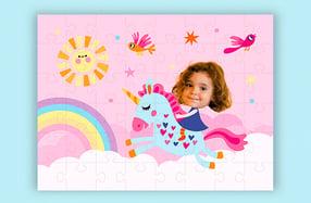 """Puzzle personalizado para niñas, """"Unicornio"""""""