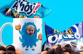 """Taza personalizable niños, """"Monstruo de las galletas"""""""