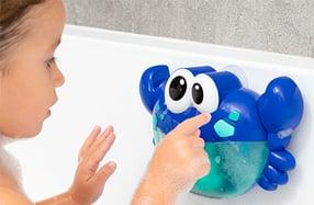 Juguete musical para el baño con pompas de jabón