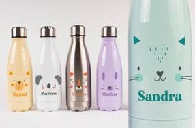 Botella térmica infantil de animales con su nombre