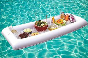 Bandeja buffet hinchable para la piscina