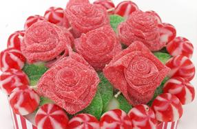 Tarta de rosas de gominola